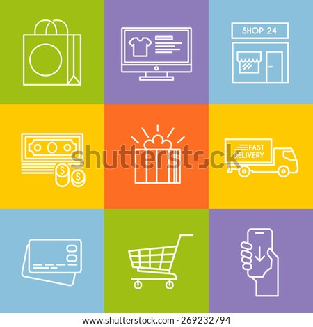 Colourful shopping vector icon set for your business, web sites, presentations, advertising etc. Quality design illustrations, elements and concept. Line icons. - stock vector