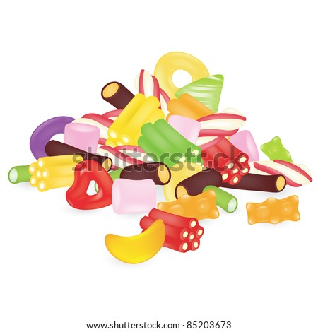 Colourful sweets isolated on the white background - stock vector