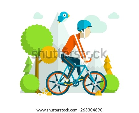 Colourful vector background with a guy riding a bike - stock vector
