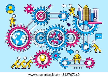 colourful vector background with cog wheels - stock vector