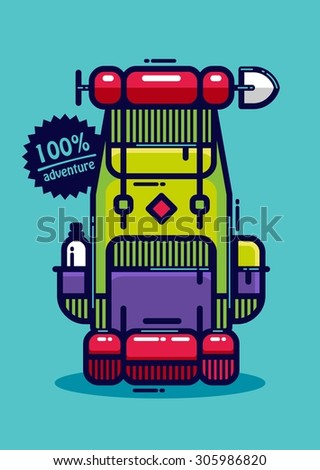 colourful vector backpack - stock vector