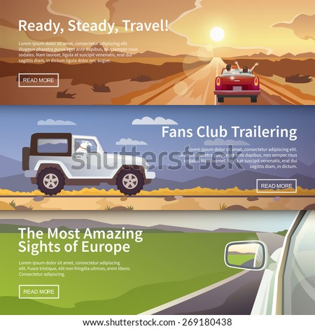 Colourful  vector flat banner set for your business, web sites etc. Quality design illustrations, elements and concept. Journey by car. Fans club trailering. Trip to Europe. - stock vector