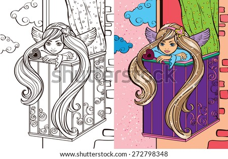 Colouring book.Beautiful angel girl on the balcony
