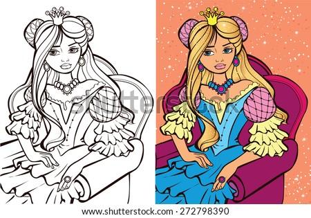 Colouring book.Beautiful Russian princess - stock vector