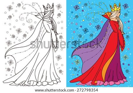 Colouring book.Beautiful snow queen - stock vector