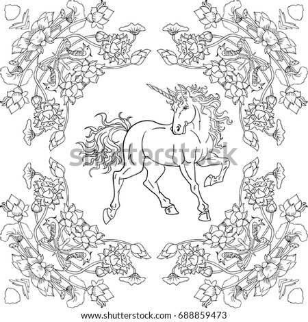 Colouring Book Unicorn With Floral Design Pattern