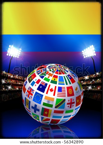Columbia Flag Globe on Stadium Background Original Illustration