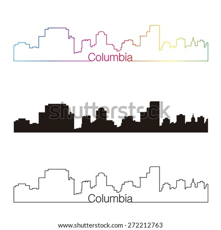 Columbia skyline linear style with rainbow in editable vector file