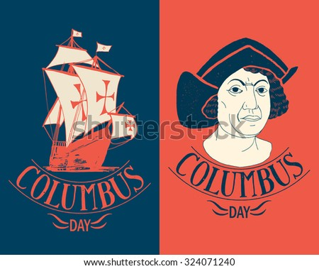 Columbus day calligraphy. vector sign set. - stock vector