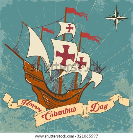 columbus day. old schooner. Santa Maria.