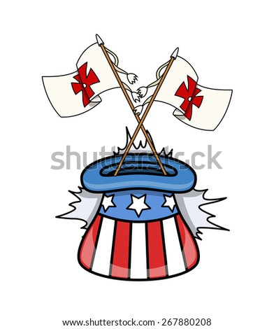 Columbus Flags in Uncle Sam Hat Vector - stock vector