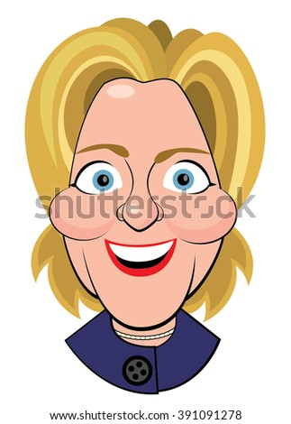 Columbus, Ohio - March 13, 2016  An illustrative editorial caricature, vector illustration  of Hillary Clinton, as she appeared at a Democratic Party Town Hall. - stock vector