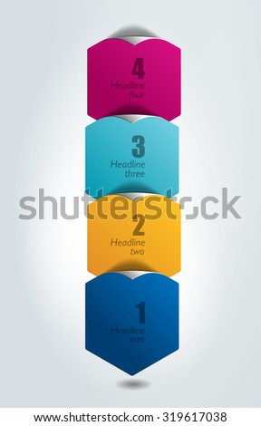 Colummn step by step 4 numbered diagram. Infographic banner. - stock vector