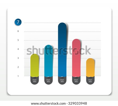 Column chart, graph pointing on the first position comparing with the others. Simply color editable. Infographics elements. - stock vector