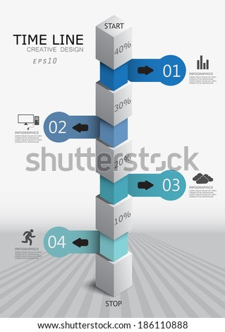 column for data presentation / creative vector infographics / can be used as a timeline - stock vector