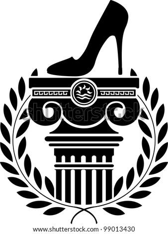 column, laurel wreath and women's shoe. stencil. vector illustration - stock vector