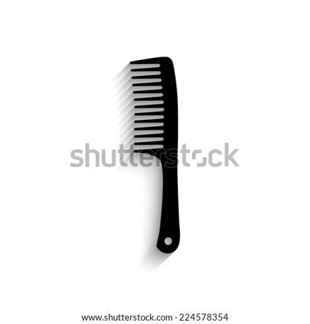 Comb  - black vector icon with shadow - stock vector