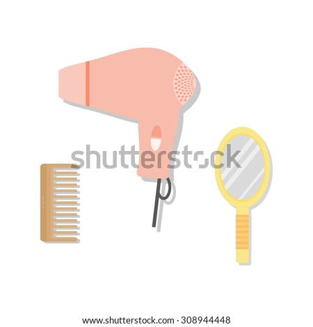 Comb, hairdryer and hand mirror. Hair instruments in flat style with shadows. - stock vector