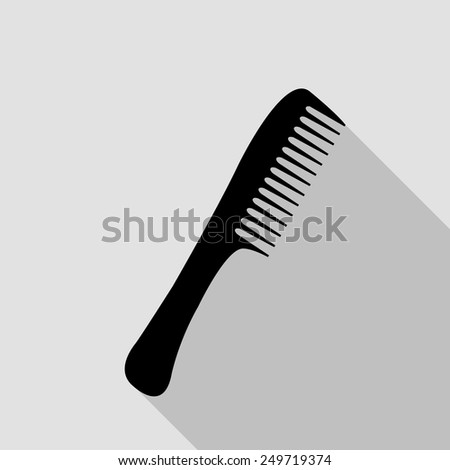 comb icon - black illustration with long shadow - stock vector