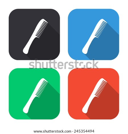 comb icon - colored illustration (gray, blue, green, red) with long shadow - stock vector