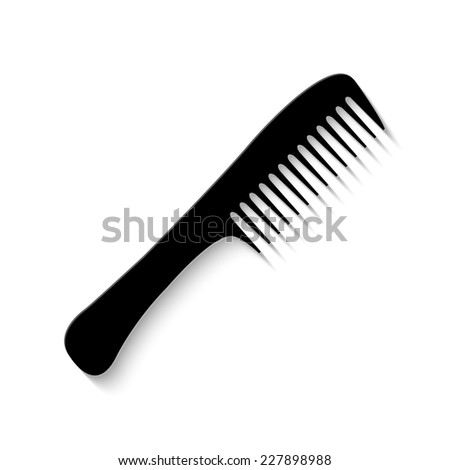 comb icon - vector illustration with shadow - stock vector