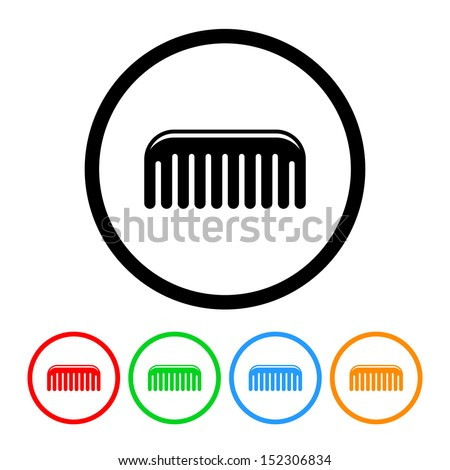 Comb Icon with Color Variations - stock vector