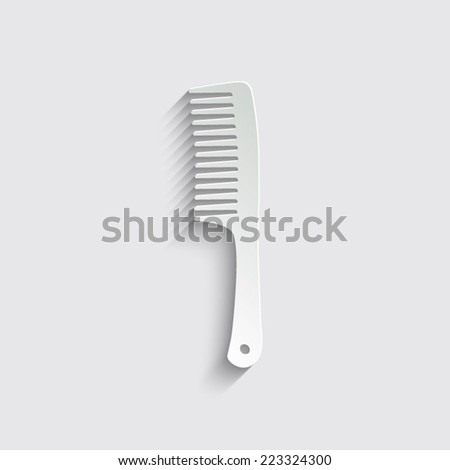 Comb Icon with shadow on a grey background - stock vector