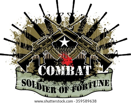 combat coat of arms - stock vector