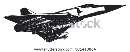 combat fighter airplane - stock vector