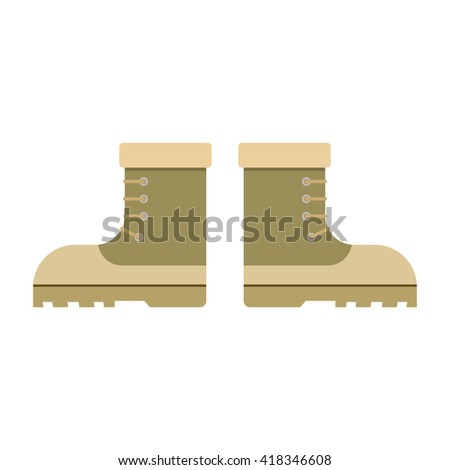 combat military boots leather combat soldier footwear vector illustration. Leather military boots and army uniform military boots. Soldier footwear military boots clothing uniform. - stock vector