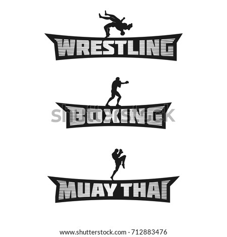 Combat Sports Monochrome Team Logos Wrestling Stock Photo (Photo ...