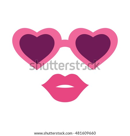 Combination heart and glasses with lips