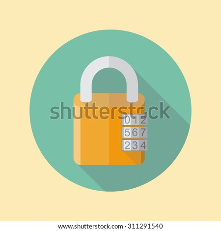 Combination lock, flat style. lock icon, isolated, with long shadow.  Padlock.  Vector  illustration. - stock vector