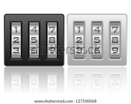Combination lock icons on a white background. - stock vector