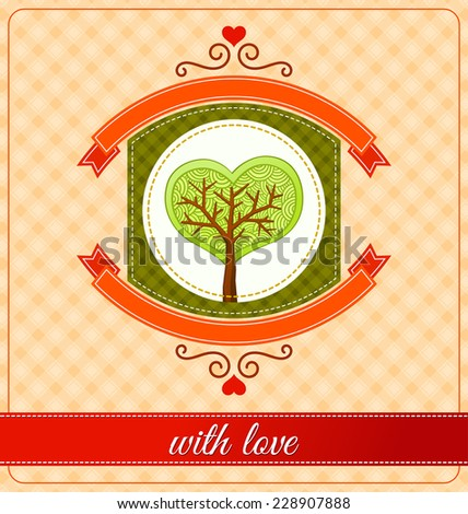 combination of heart and tree ornament for various purpose and event such as valentine and wedding - stock vector
