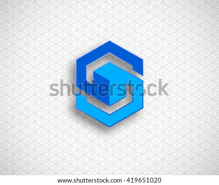 Combination of Letter S. Abstract Vector Logo Design Template. Creative Color Geometric Concept Icon. Blue Logotype - stock vector