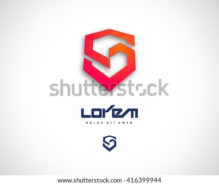 Combination of Letter S. Abstract Vector Logo Design Template. Creative Red Geometric Concept Icon - stock vector