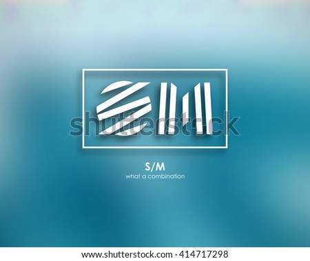 Combination of Letters S and M. Abstract Vector Logo Design Template.  - stock vector