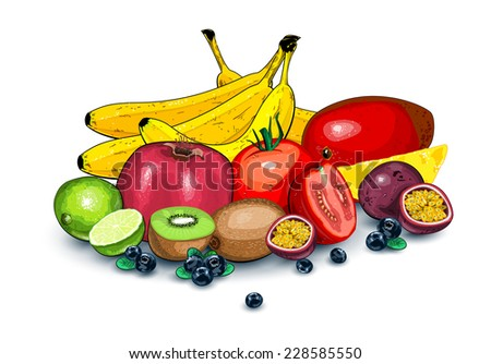 Combination of lots of ripe exotic fruits together EPS 10 - stock vector
