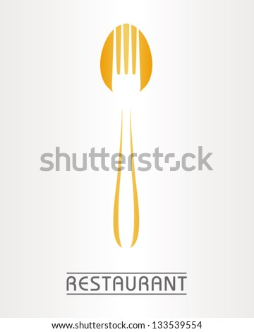combination of spoon and fork inside together - stock vector