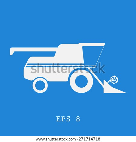 Combine harvester flat,simple style. Vector illustration EPS8 - stock vector