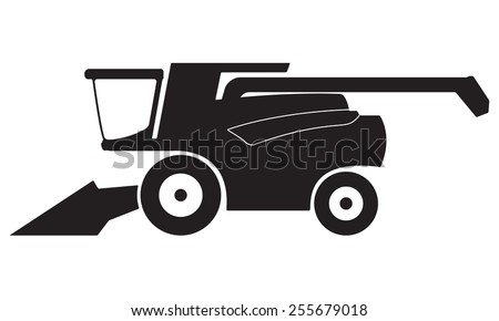 Combine harvester icon or sign isolated on white background. Vector illustration. - stock vector