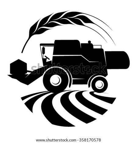 Combine harvester in a field - the symbol contains draw of plough field, combine harvester and wheat ear - stock vector
