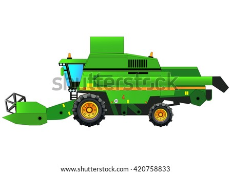 Combine harvester, vector illustration. Isolated on white. Icon. Flat style