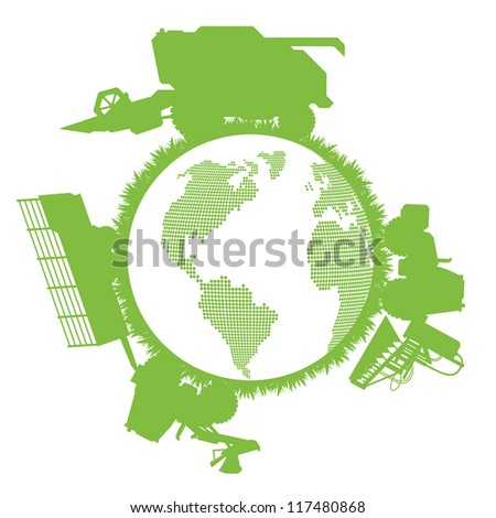 Combine harvester world ecology concept - stock vector