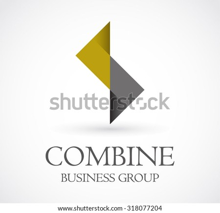 Combine of triangles group abstract vector logo design template business connection and support icon company identity symbol concept - stock vector