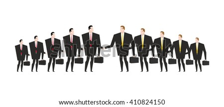 Combining corporations. Business deal. Merger. Managers shaking hands. Handshake office workers. Agreement between directors Man in business suit and briefcase - stock vector