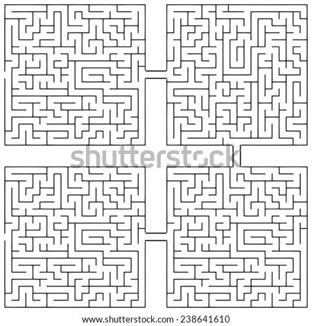 Combining labyrinths similar circuit in an infinite chain. Vector illustration. - stock vector