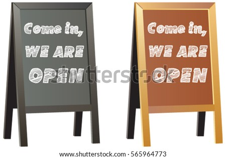 come in weu0027re open sign display for shops or business on vector double sided