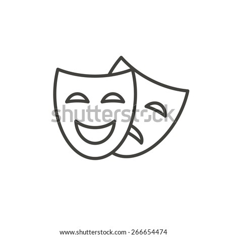 Comedy and tragedy line theater masks vector illustration - stock vector